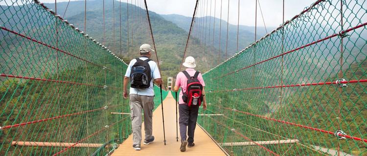 senior couple walking on a bridge